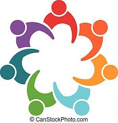 siódemka, grupa, ludzie, osoby, logo., człowiek