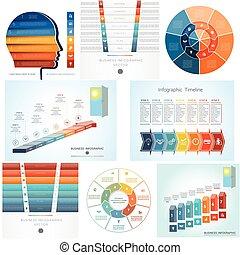 siódemka, komplet, diagram, kroki, infographics, 8, szablony