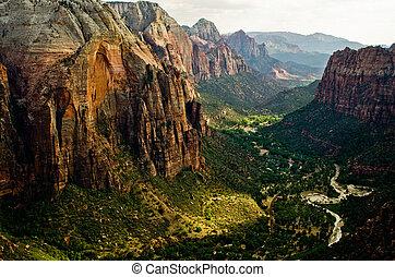 sión, utah, parque nacional, aterrizaje, cañón, vistos, ángeles