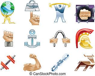 siła, elementy, seria, komplet, ikona, projektować