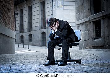 siła, handlowe biuro, posiedzenie, ulica, krzesło, człowiek
