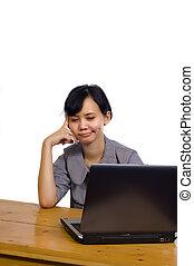 siła, kobieta handlowa, laptop, tło, używając, biały
