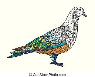 siła, (pigeon)., rys, stylizowany, anti, dorosły, freehand, gołębica, rysunek