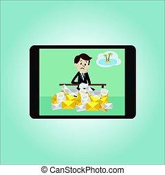 siła, plaża., island., biuro, pracujący, pracownik, urlop, albo, tropikalny, dyrektor, biznesmen, los, śniący, iść, o, emails