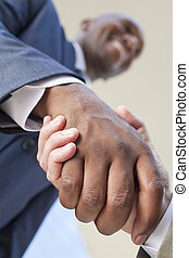 siła robocza, amerykanka, afrykanin, biznesmen, potrząsanie, albo, człowiek