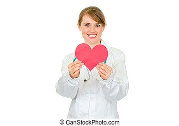 siła robocza, dzierżawa, serce, doktor, papier, odizolowany, samica, uśmiechanie się, medyczny, biały