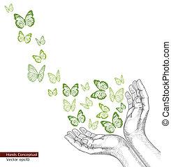 siła robocza, laszując, rysunek, butterfly.
