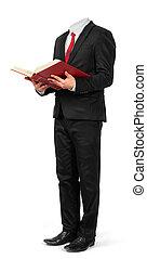 siła robocza, zawiera, odizolowany, wydrążenie, książka, tło, garnitur, biały, otwarty