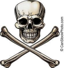 si, crossbones, roger, cráneo, alegre