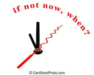 si, horloge, pas, maintenant, when?