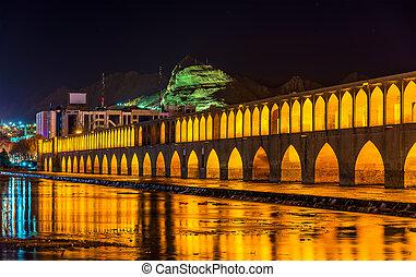 (si-o-seh, allahverdi, irán, isfahan, pol), puente, kan