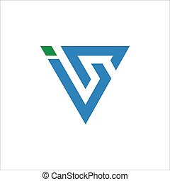 si, szablon, projektować, logo, początkowy, albo, litera, ...