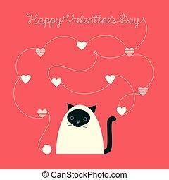 siamés, día de valentines, hilo, gato
