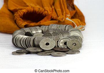 siam, 硬币, 白的背景