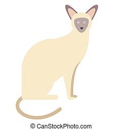 siamese, apartamento, branca, ilustração, gato