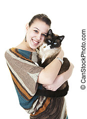 Siamese Cat and Owner - A beautiful Snowshoe Lynx Point...