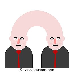 Siamese twins isolated. Fused people. Vector illustration