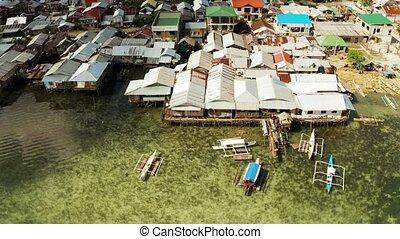 siargao, 도시, 마을, 어업, 집, stilts., dapa, philippines.