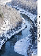 sibéria, rio, paisagem inverno, vista