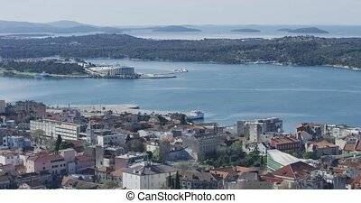 Sibenik aquatorium panoramic view with port, hotels and...