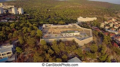 Sibenik Barone Fortress aerial - Aerial circular view of the...