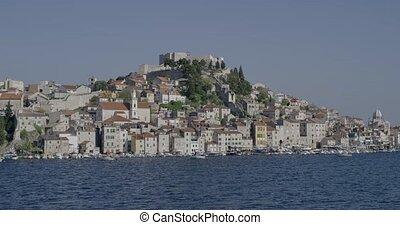Sibenik coastal view - Panoramic view of the old city center...