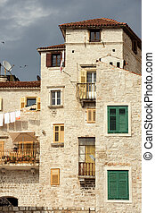 Sibenik historic center - Historic tall houses in downtown ...