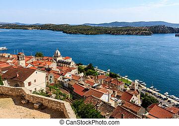 sibenik, james, panoramisch, oben, kroatien, heilige, ...