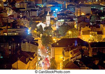 sibenik, opinión de la ciudad, aéreo, noche