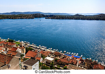 sibenik, panorámico, croacia, colina, dálmata, islas, vista
