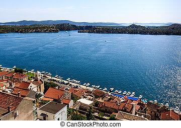 sibenik, panoramisch, kroatien, hügel, dalmatiner, inseln, ...