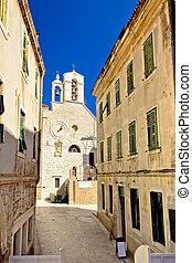 sibenik, piedra, calles, capilla