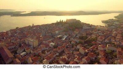 Sibenik St. Michael Fortress aerial - Aerial ascending view...