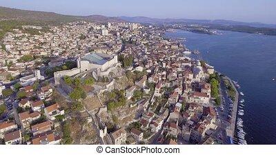 Sibenik St. Michael Fortress aerial - Aerial circular view...