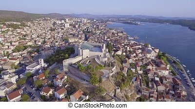 Sibenik St. Michael Fortress aerial - Copter aerial view of...