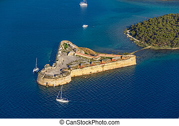 Sibenik St. Nicholas Fortress - Aerial helicopter shoot of...