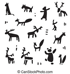 Siberia. Primitive painting set. Hand drawn vector...