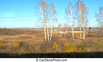 Siberian autumn landscape - View through the window of the...