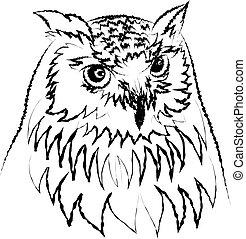 siberian eagle owl, or bubo bubo sibiricus.vector - Line art...