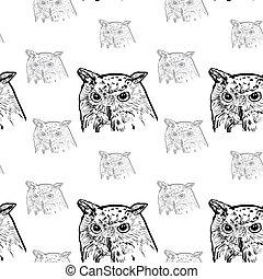 siberian eagle owl, or bubo bubo sibiricus.vector - Siberian...