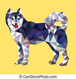 Siberian husky low polygon