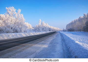 Siberian rural empty asphalt road under the snow