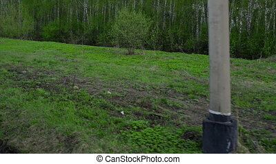 Siberian spring landscape - View through the window of the...