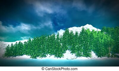 Siberian taiga - panoramic view on lake
