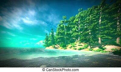 Siberian taiga - panoramic view on lake