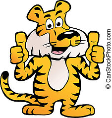 Siberian Tiger giving two thumb up - Hand-drawn Vector...