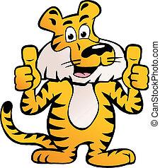 sibirisch, auf, daumen, tiger, zwei, geben