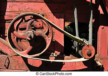 red thresher detail - sibiu city romania ethnic museum...
