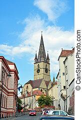 sibiu city romania Parochial Evangelical Church landmark architecture