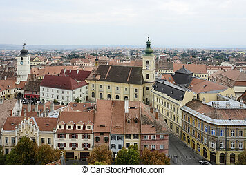 Sibiu in Romania - aerial view of Sibiu, a city in Romania